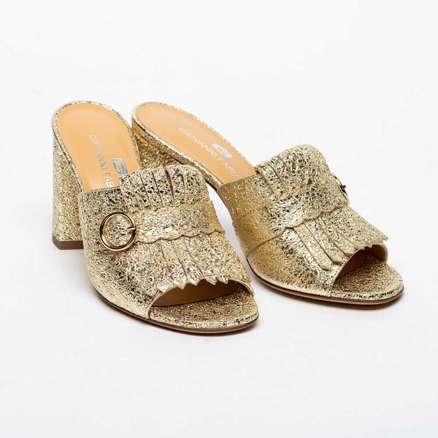 GIOVANNI FABIANI arany metál női bőr papucs (37)