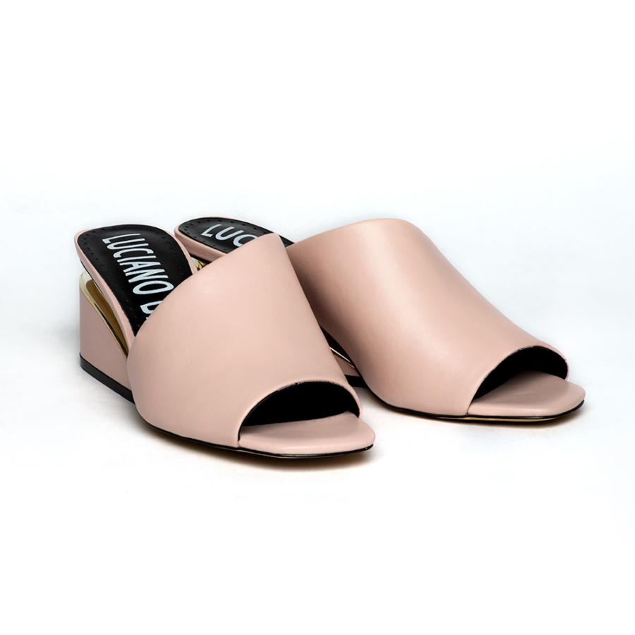 LUCIANO BARACHINI púderrózsaszín női bőr papucs