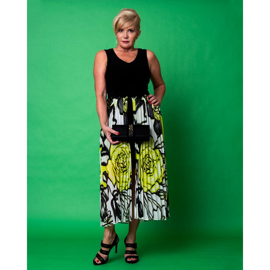 FRANK LYMAN  fekete zöld mintás női ruha