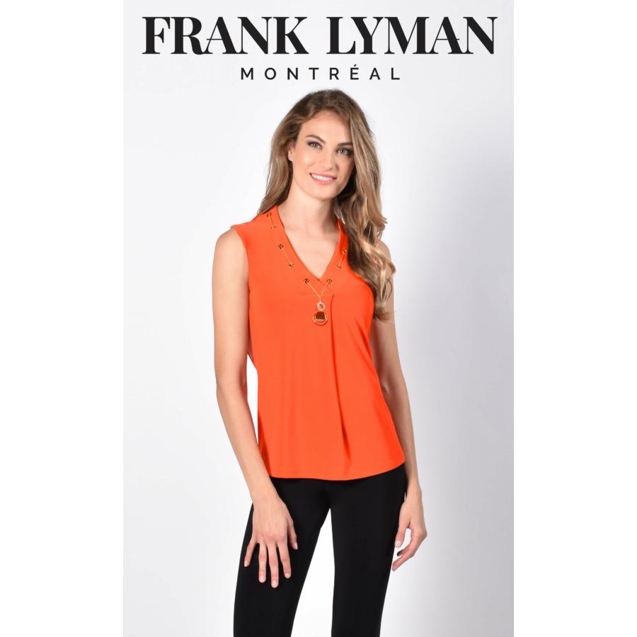 FRANK LYMAN narancssárga ujjatlan női blúz