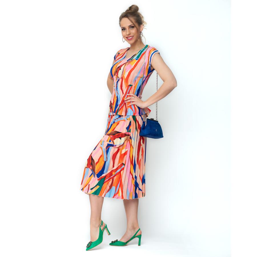 LEO&UGO színes plisszírozott női blúz