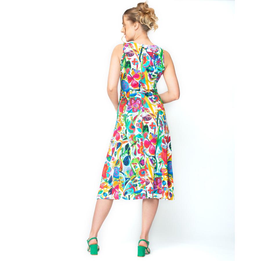 DOLCEZZA ujjatlan lefelé bővülő színes ruha