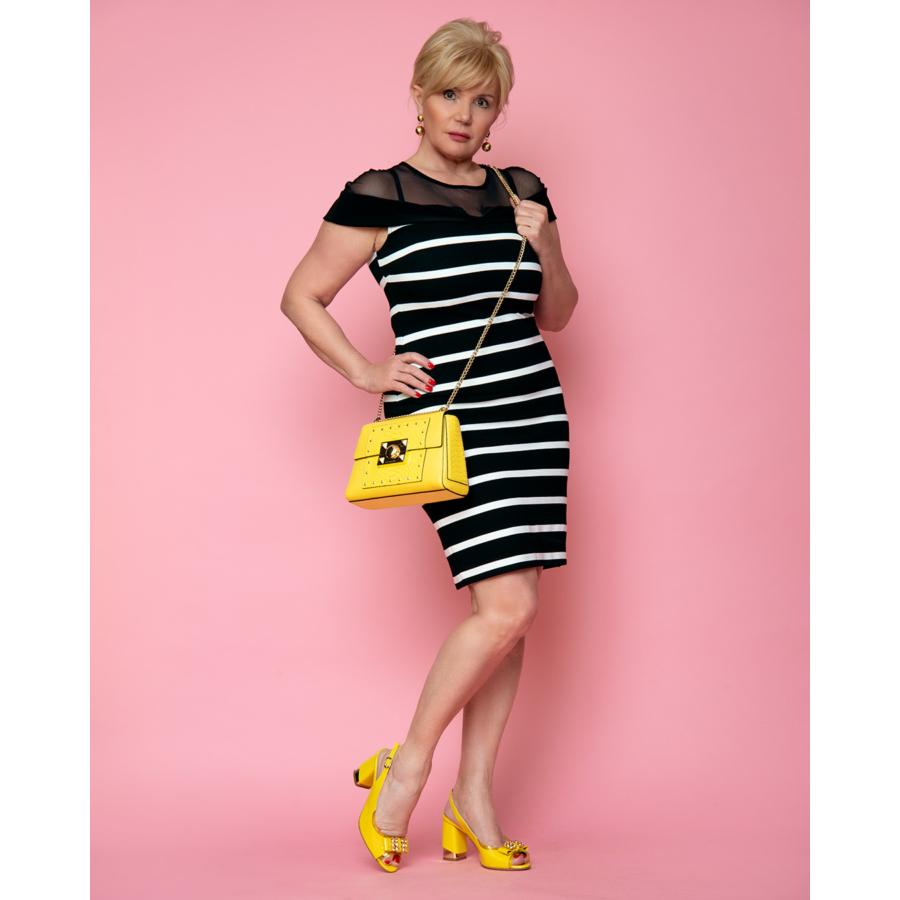 FRANK LYMAN fekete-fehér csíkos női ruha (36)