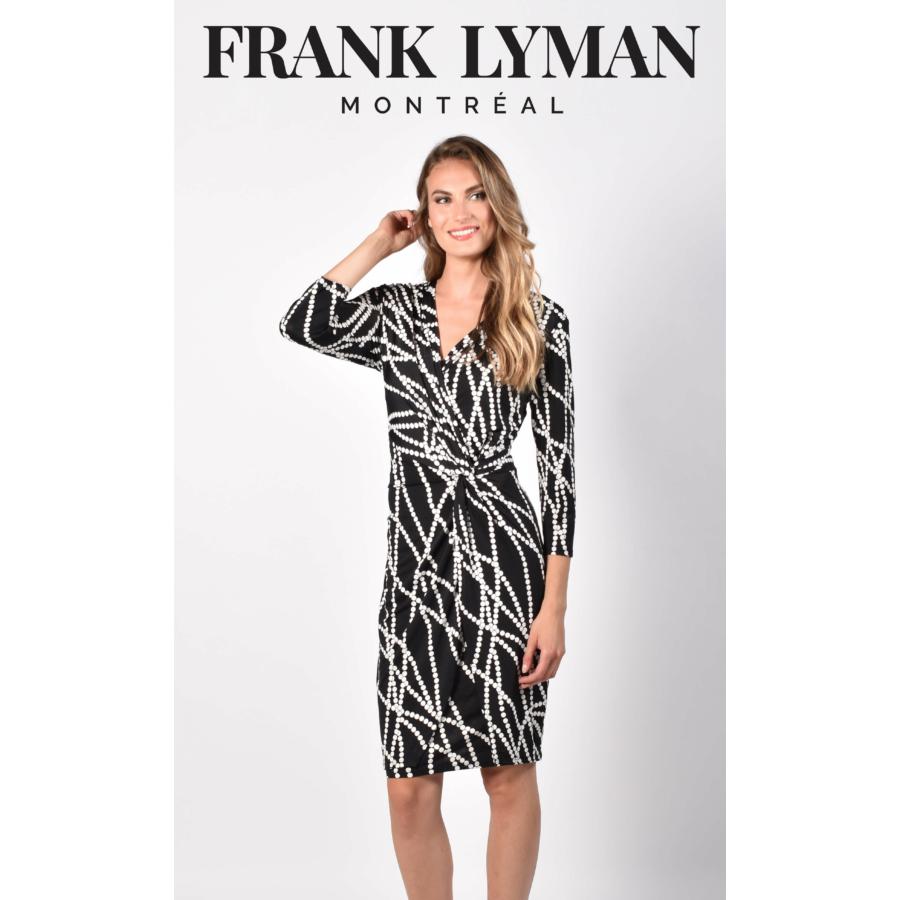 FRANK LYMAN fekete-fehér hosszú ujjú női ruha