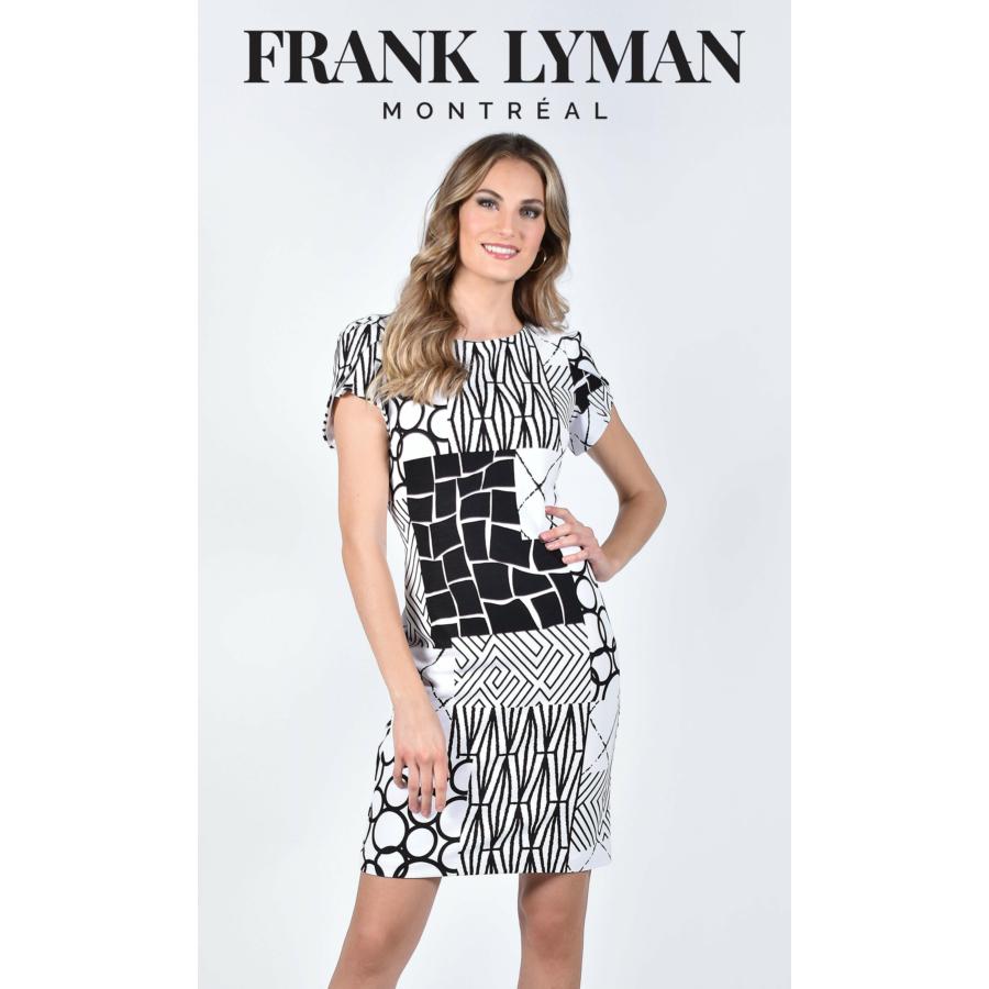 FRANK LYMAN fekete-fehér rövidujjú női ruha