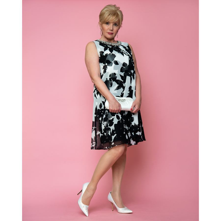 FRANK LYMAN fekete-fehér virágmintás női ruha