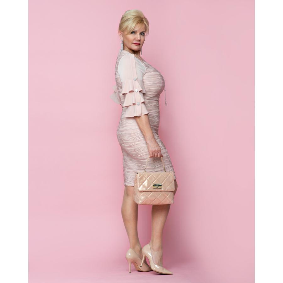 FRANK LYMAN női rózsaszín tölcsérujjú alkalmi ruha