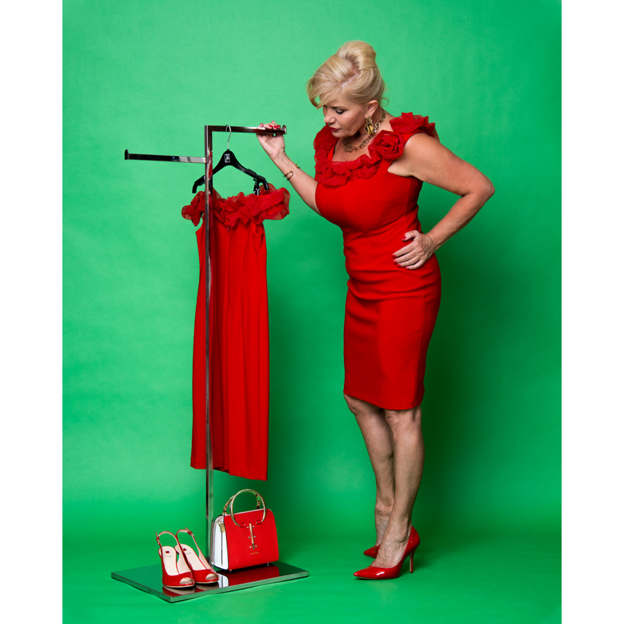 JOSEPH RIBKOFF fodros piros női ruha