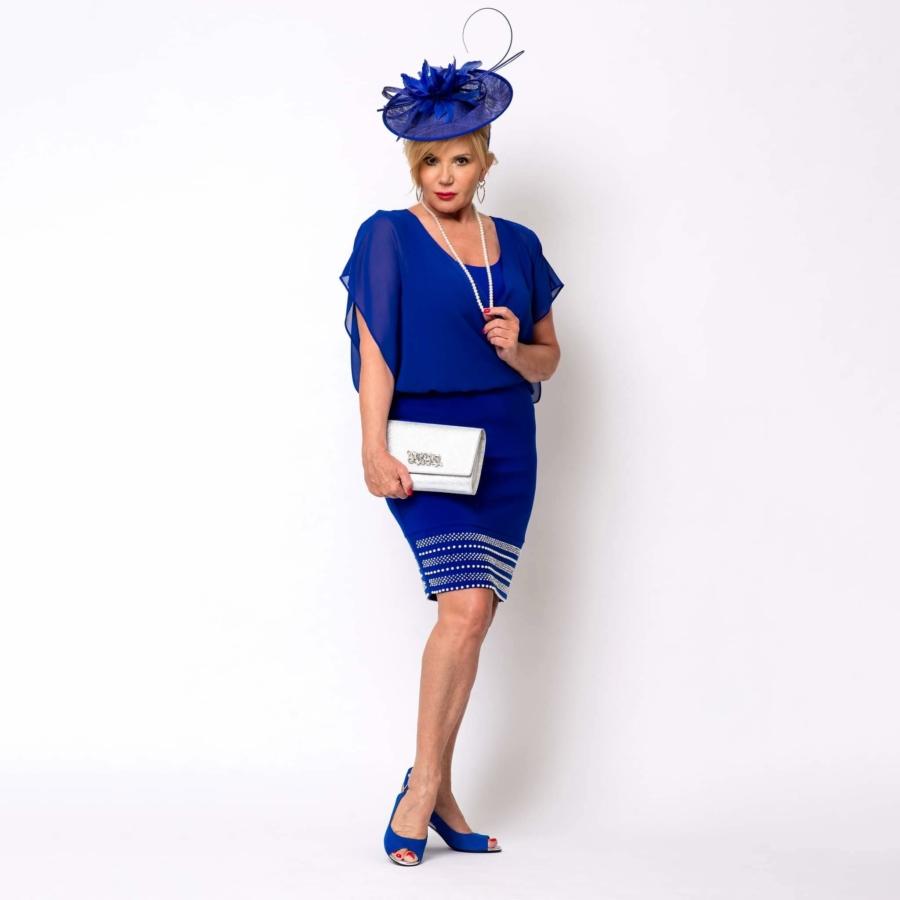 JOSEPH RIBKOFF Kék gyöngyüs női alkalmi ruha