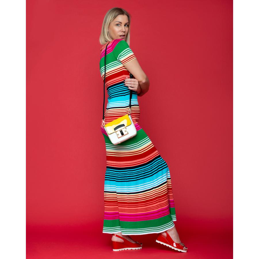 LEO&UGO színes csíkos rövidujjú hosszú ruha