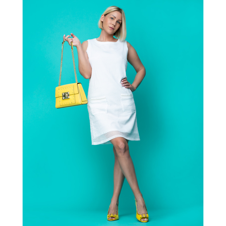MALOKA fehér ujjatlan női ruha
