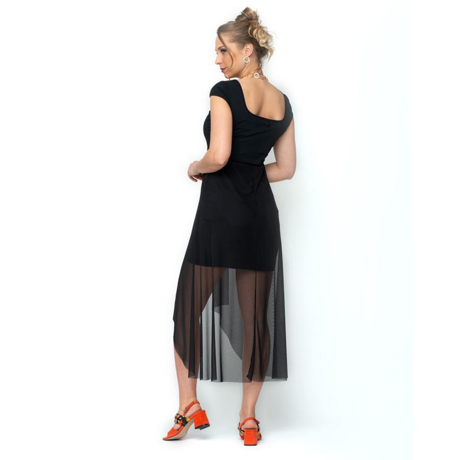 MALOKA fekete ujjatlan női ruha