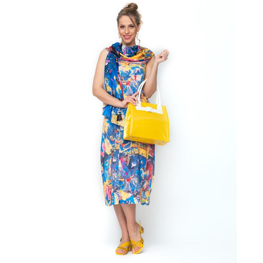 MALOKA ujjatlan női kék virágos nyári ruha