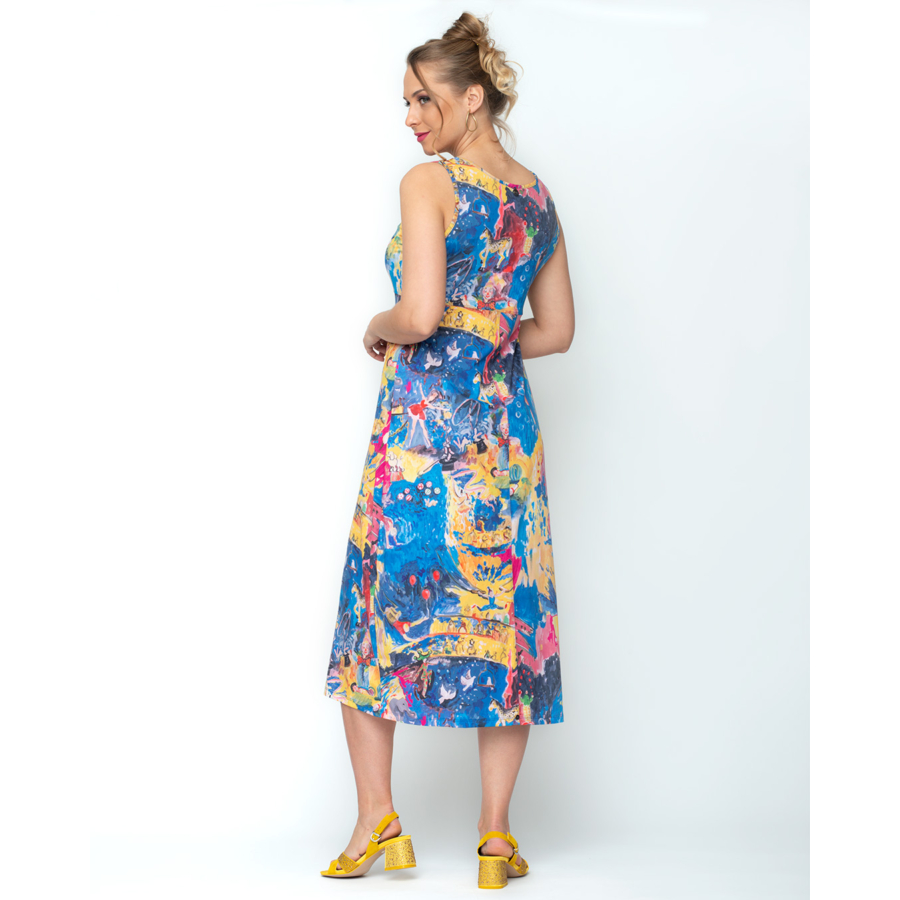 MALOKA ujjatlan női kék virágos nyári ruha (40)