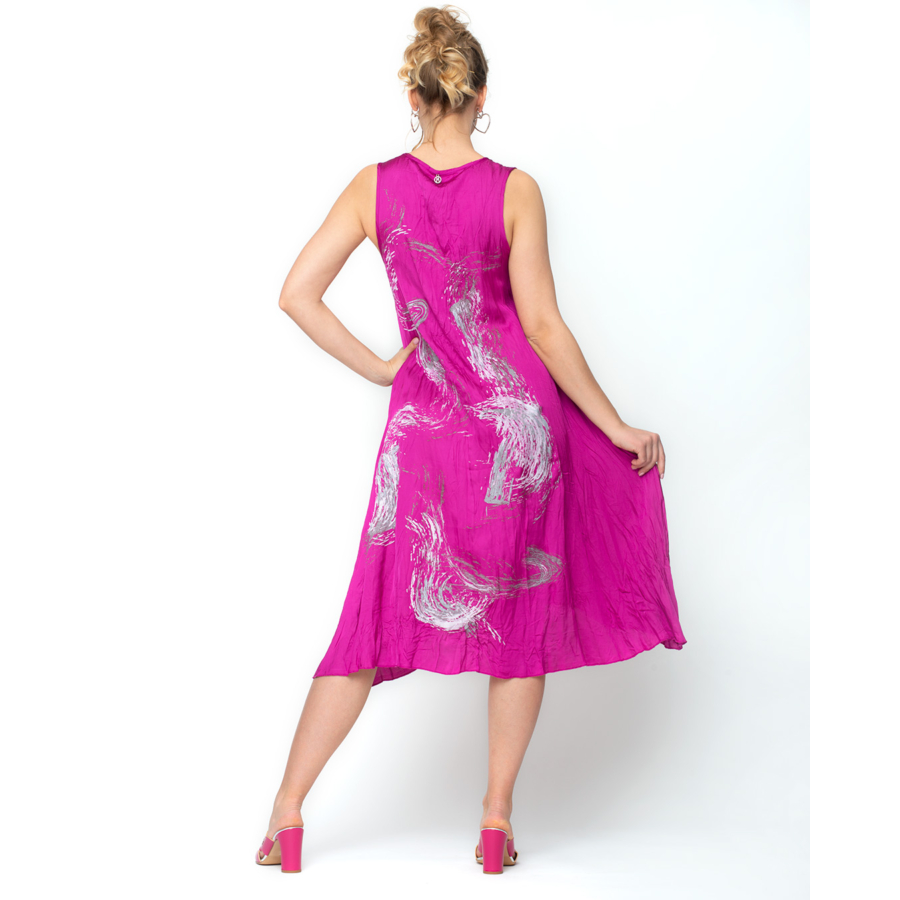 MALOKA pink ujjatlan női ruha