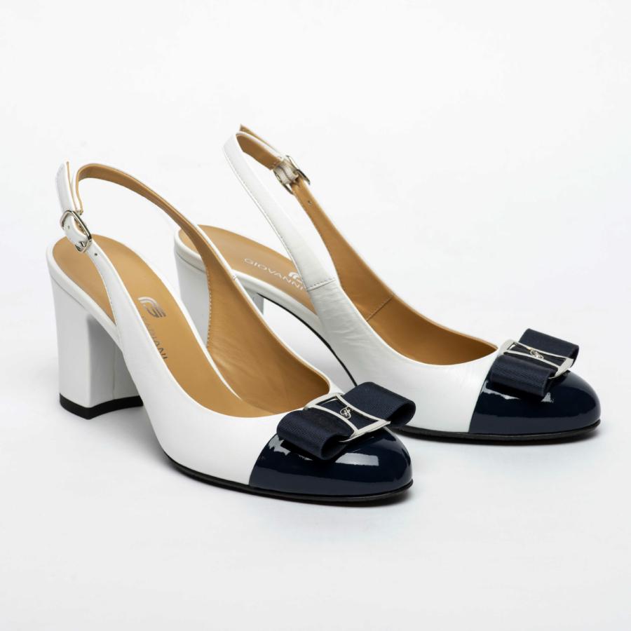 GIOVANNI FABIANI fehér-sötétkék bőr swing cipő