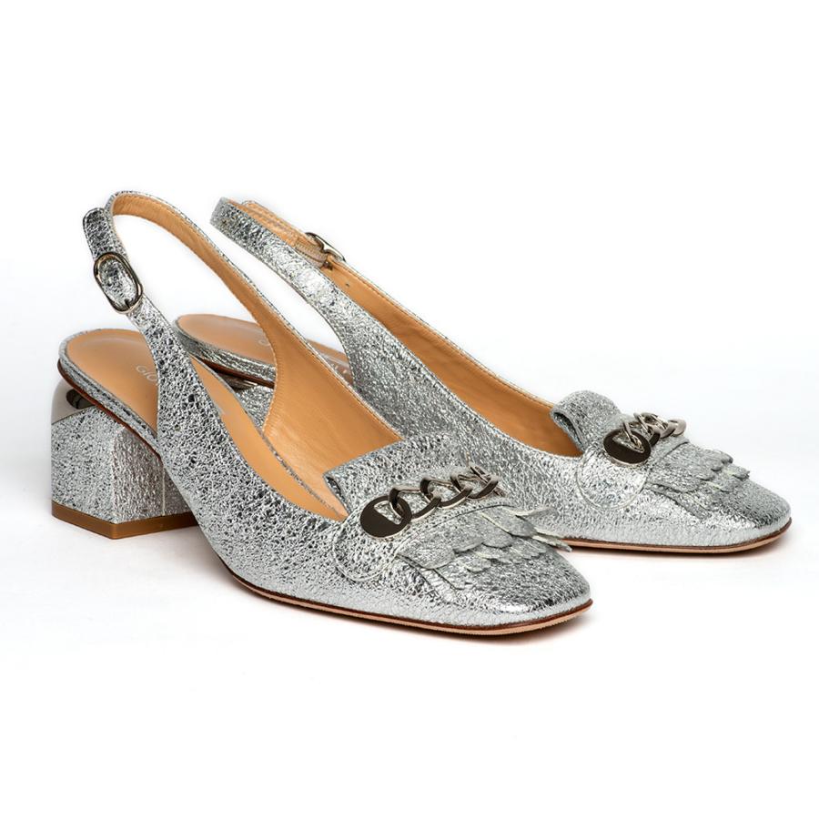 GIOVANNI FABIANI ezüst bőr női sling cipő