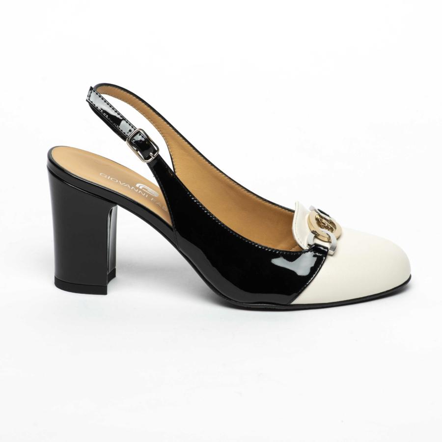 GIOVANNI FABIANI fekete-törtfehér sling cipő