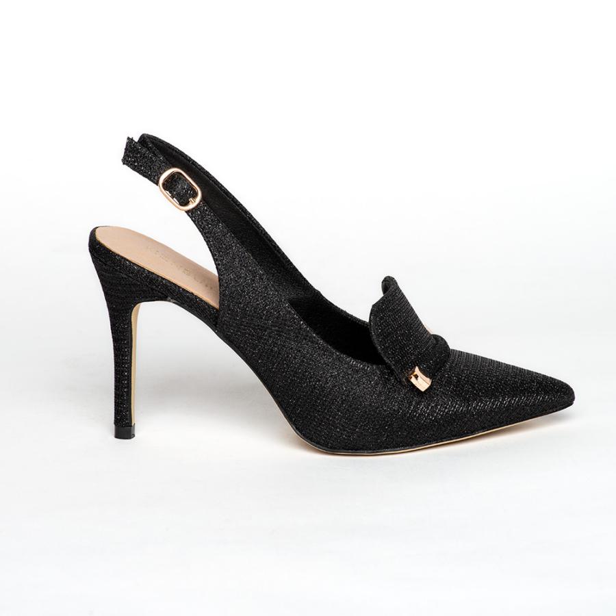 MENBUR fekete csillámos elől zárt sling cipő