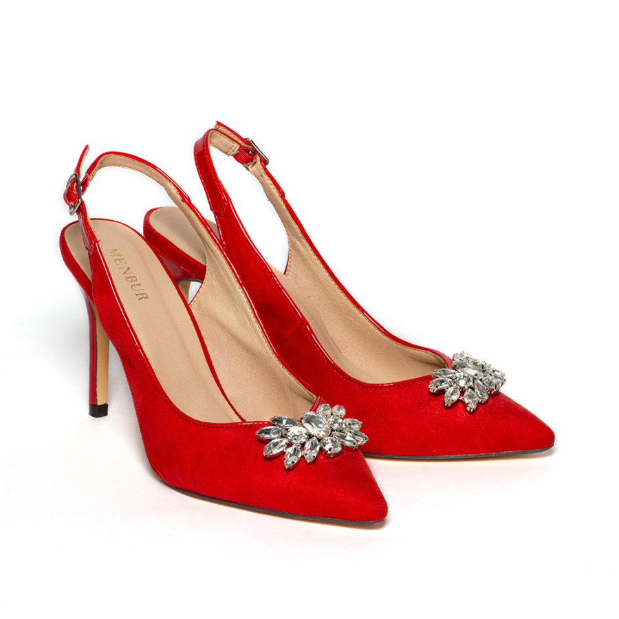 MENBUR piros női velúr szling cipő