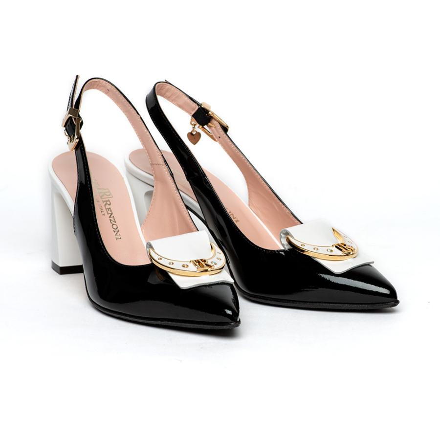 RENZONI fekete-fehér elől zárt női sling cipő