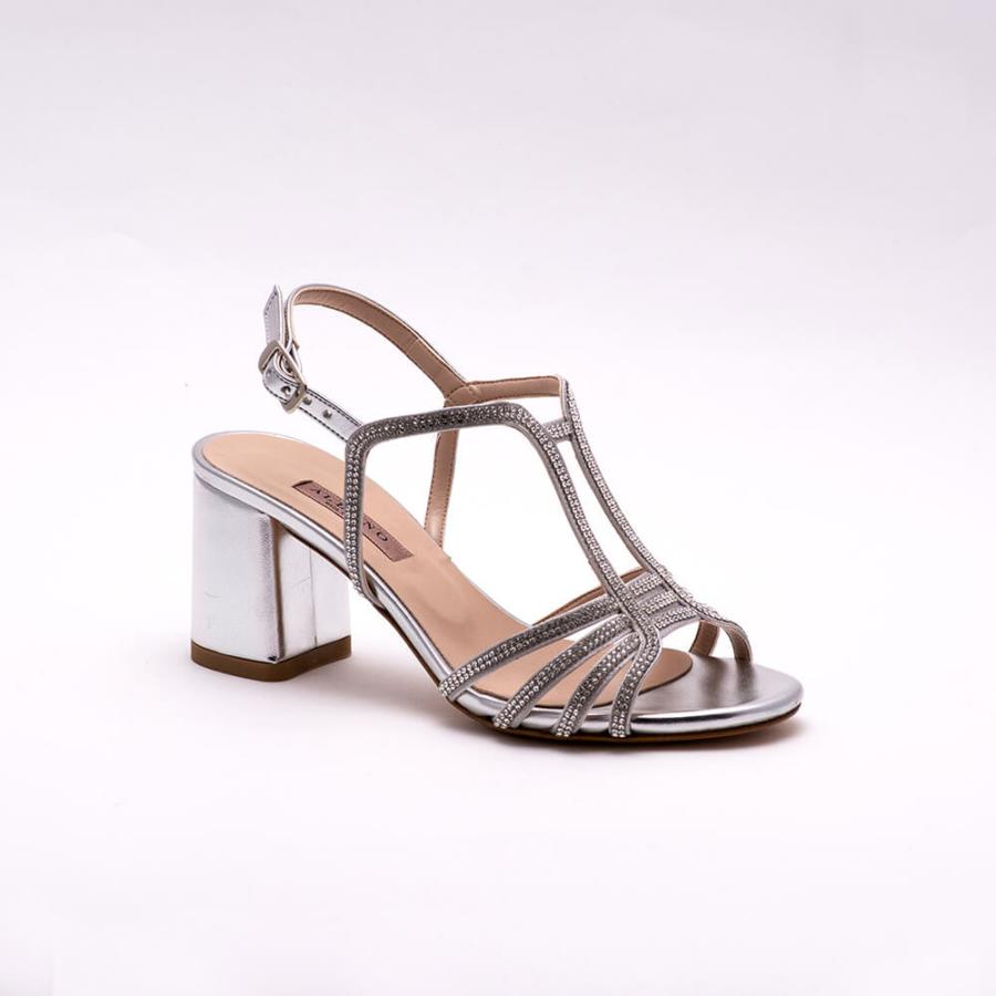 ALBANO ezüst, selyemfényű, köves, magassarkú szandál