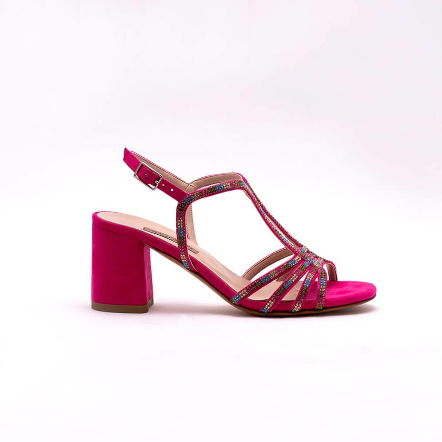 ALBANO pink, köves, magassarkú szandál