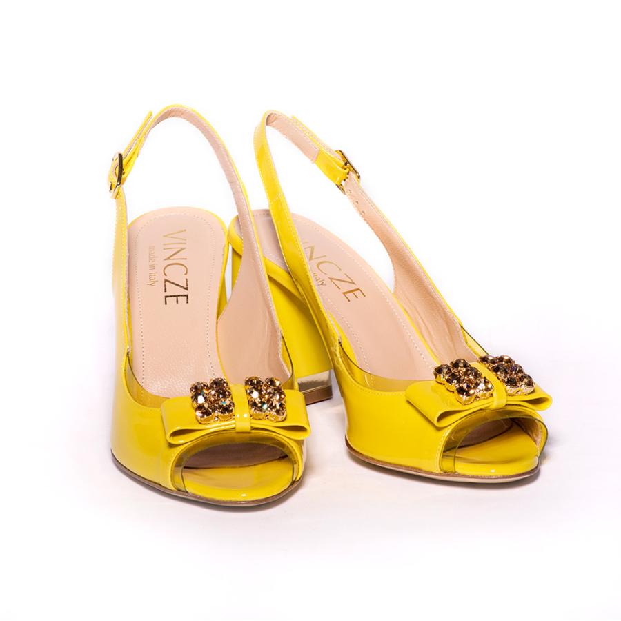 MODA DI VINCZE sárga női magassarkú szandál