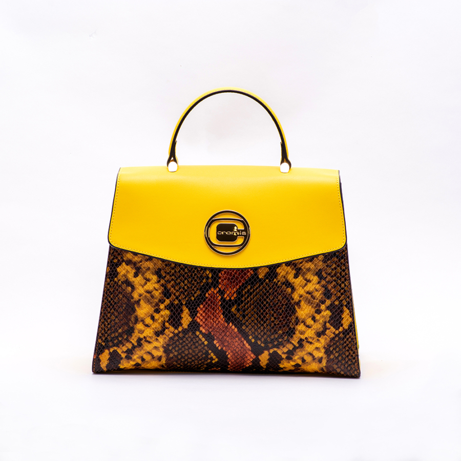 CROMIA sárga barnapiton női bőrtáska