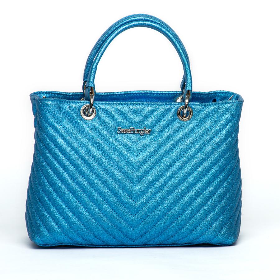 SARA BUGLAR női kék steppelt bőr táska
