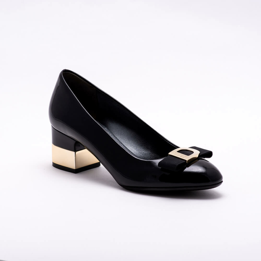 DONNA SERENA fekete magassarkú lakkcipő
