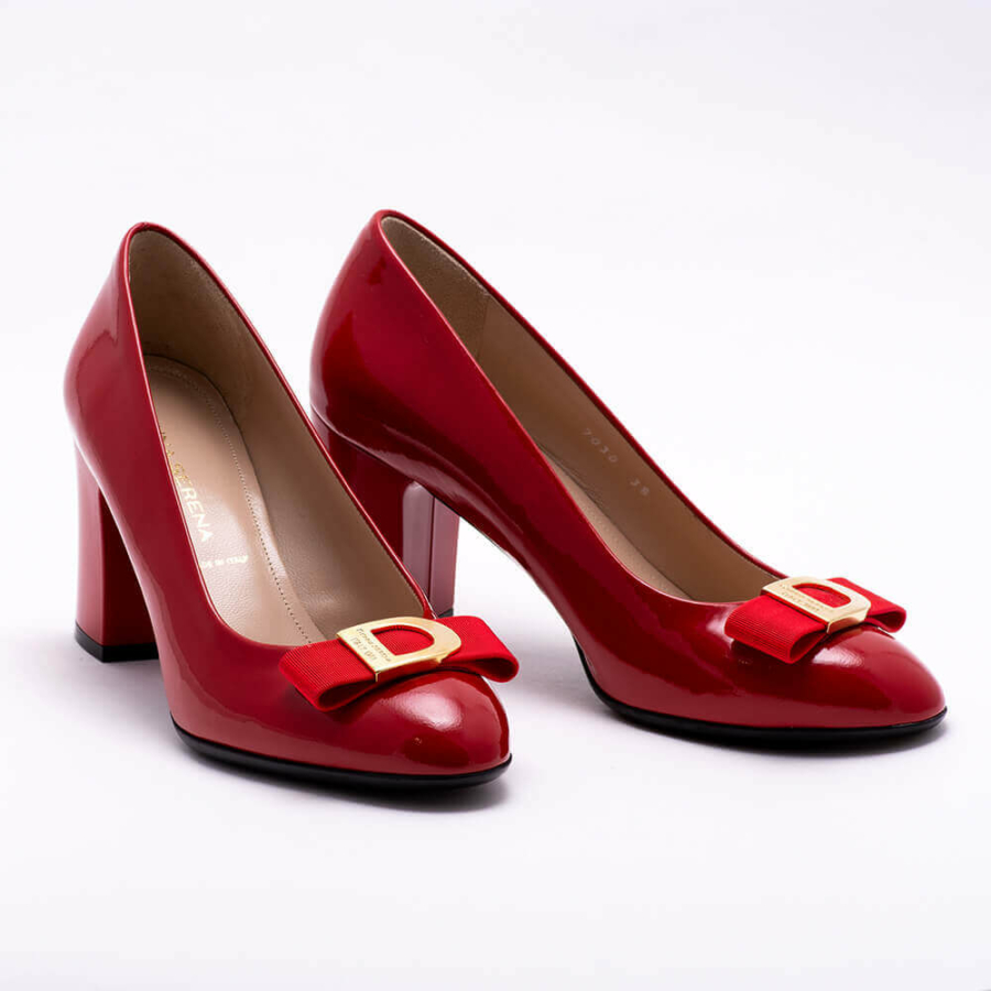 DONNA SERENA piros-arany, magassarkú lakkcipő