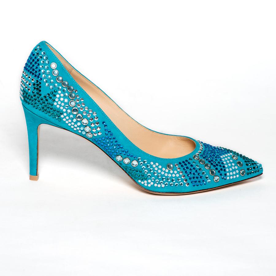 DYVA türkiz női magassarkú köves cipő