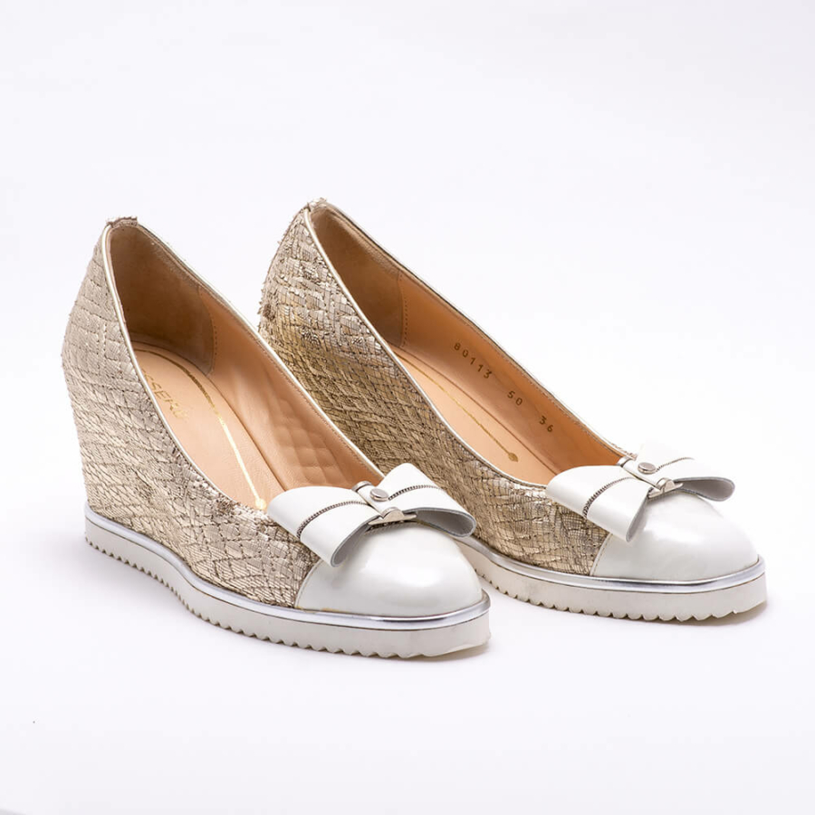 ESSERE arany-törtfehér bőrcipő
