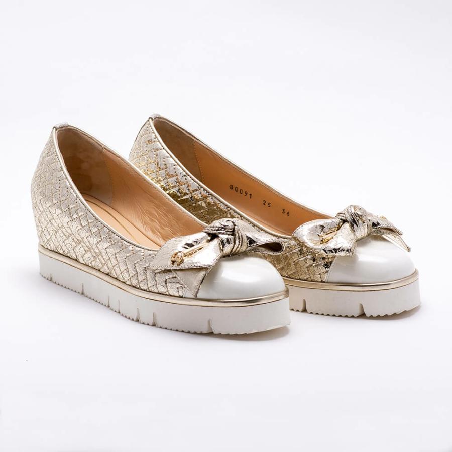 ESSERE fényes arany bőr cipő