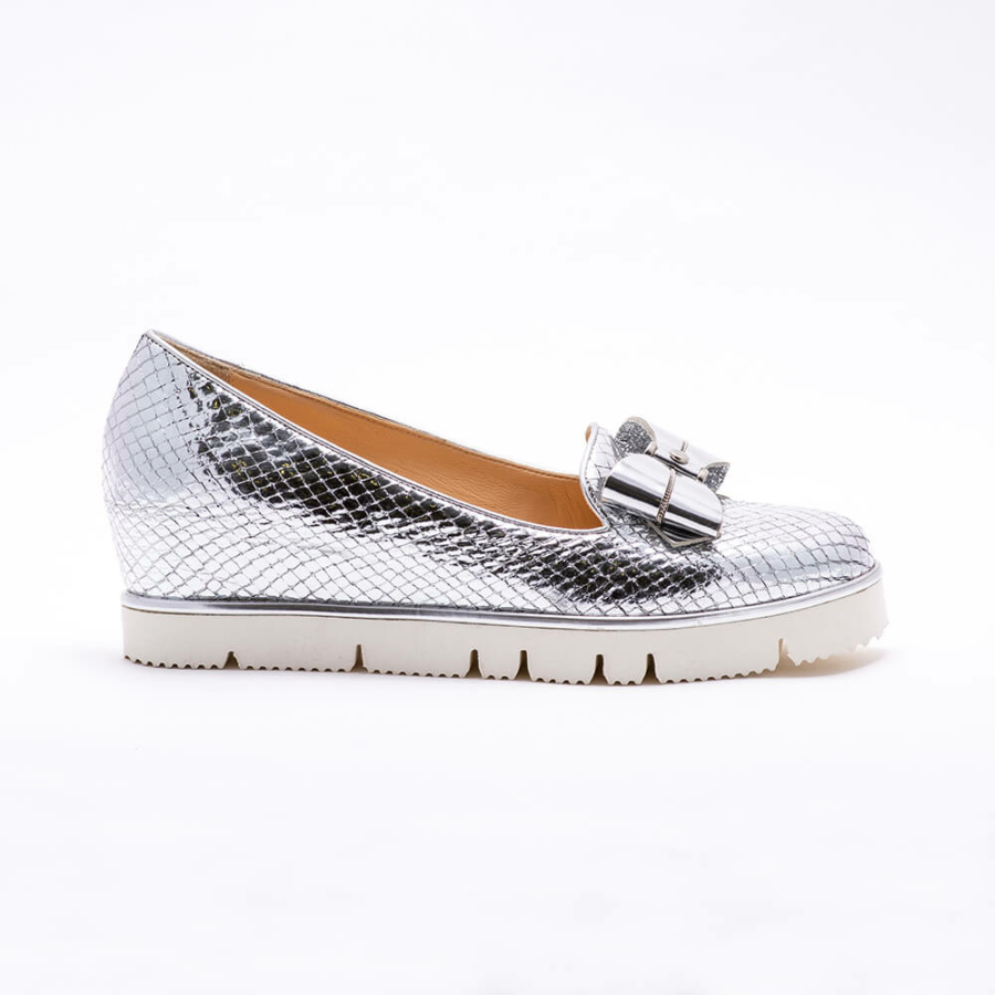 ESSERE fényes ezüst bőr cipő