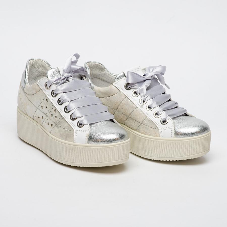 IGI&CO ezüst-fehér női emelttalpú cipő