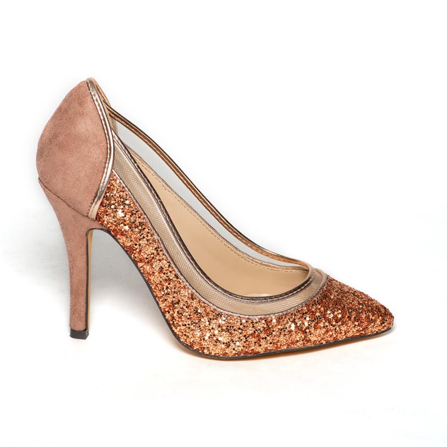 MENBUR rosegold velúr alkalmi cipő