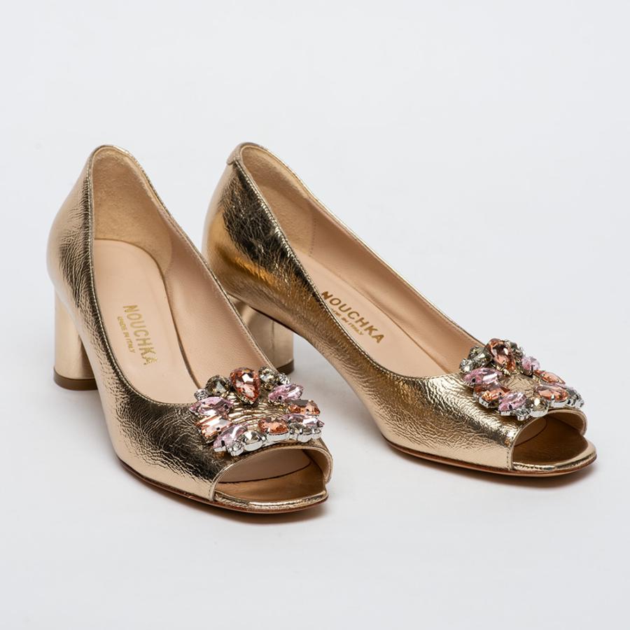 NOUCHKA női elől nyitott arany színű bőr cipő