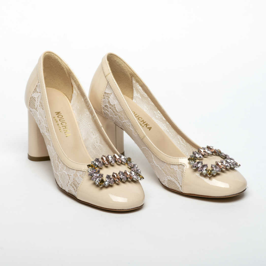 NOUCHKA bézs, lakkbőr alkalmi cipő