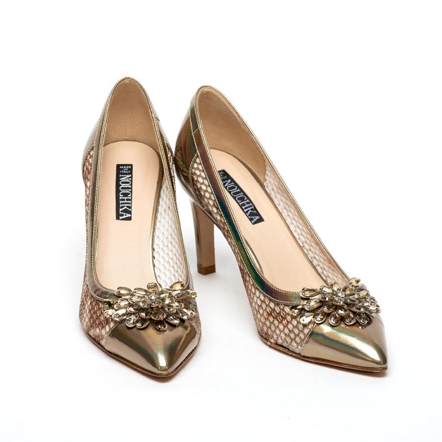 NOUCHKA bronzmetál bőr cipő kövekkel