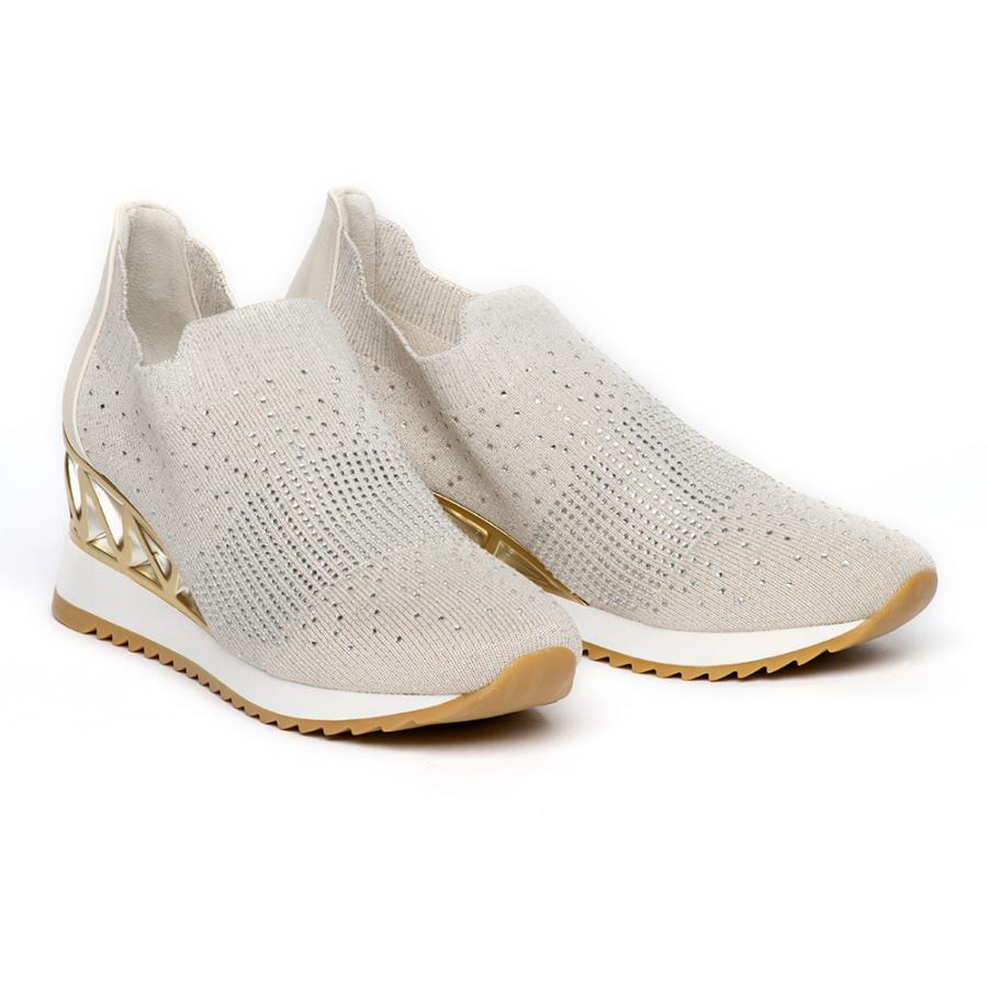 RENZONI bézs strasszos női cipő